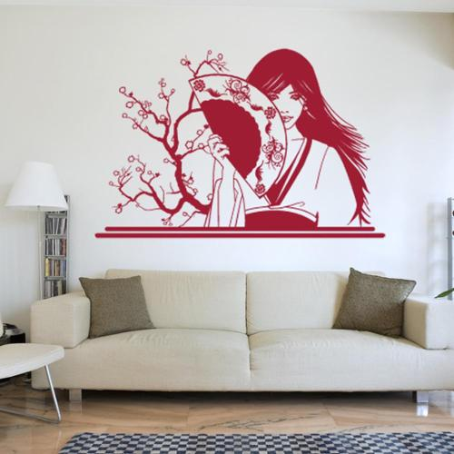 Style and Apply Geisha with Fan Vinyl Mural Wall Decal