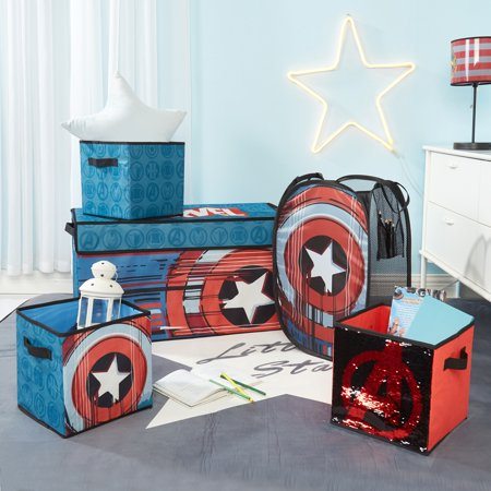 Avengers Storage Set (Trunk, 2 pack cubes, Sequin Cube and Hamper) (Avengers Decor)