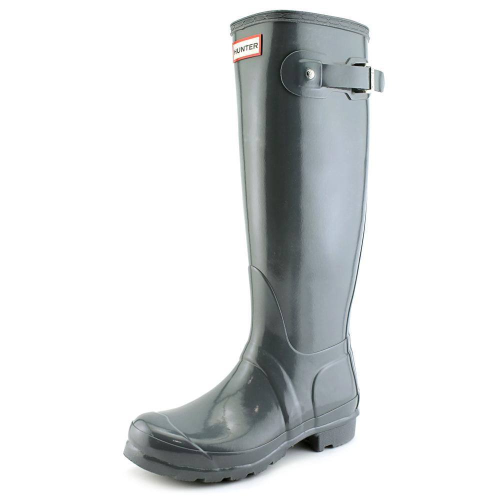 Hunter Original Tall Gloss Women  Round Toe Synthetic Gray Rain Boot