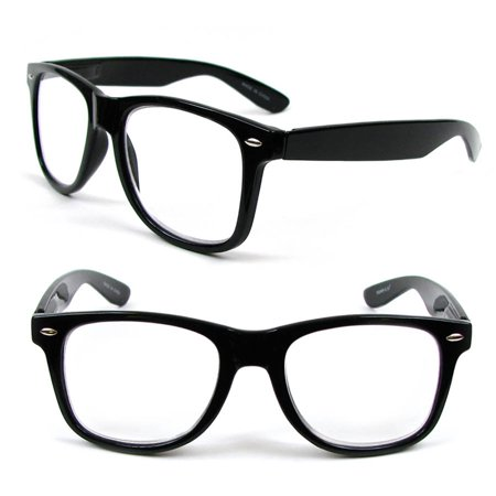 2 Pair of Large Classic Frame Reading Glasses Nerd Geek Retro Vintage Style +2.00 in Strength