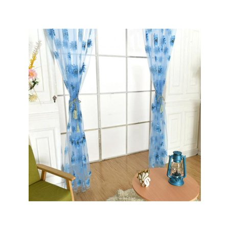 Lavaport Sunflower Print Crushed Sheer Voile Curtain Panel Children Girls Bedroom (Sunflower 5 Panel)