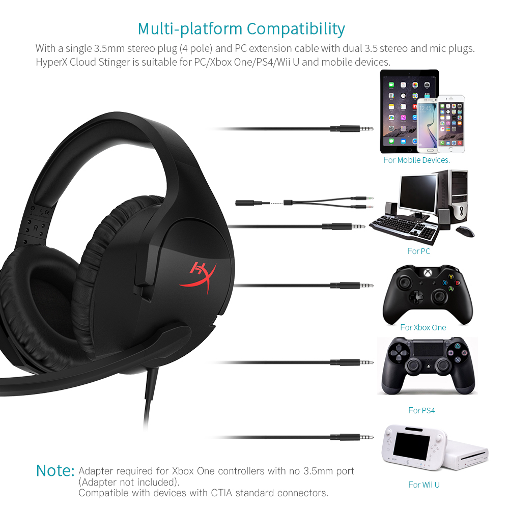 PS4 HyperX Cloud Stinger Xbox One HX-HSCS-BK//NA PS4 PRO Gaming Headset PC