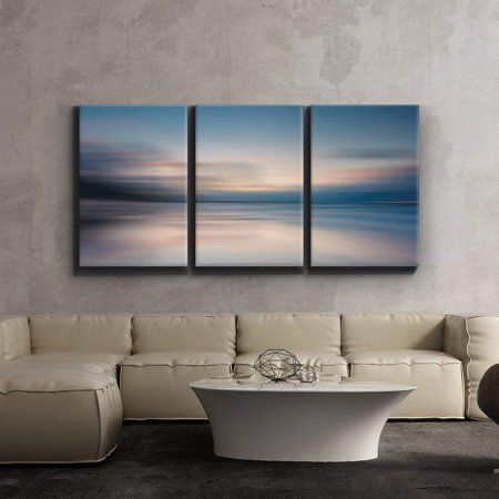 """Wall26-Contemporary Art, Modern Wall Decor - Sunrise golden hour lake setting abstract - Giclee Artwork - Gallery Wrapped Wood Stretcher Bars -24""""x36"""" x 3 Panels"""