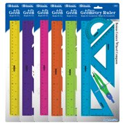 BAZIC Math Geometry Set 5 Pieces, Center Wheel Compass, Protractor, Ruler, 2 Triangle Rulers, Plastic Clear Measuring Sets, 6-Packs