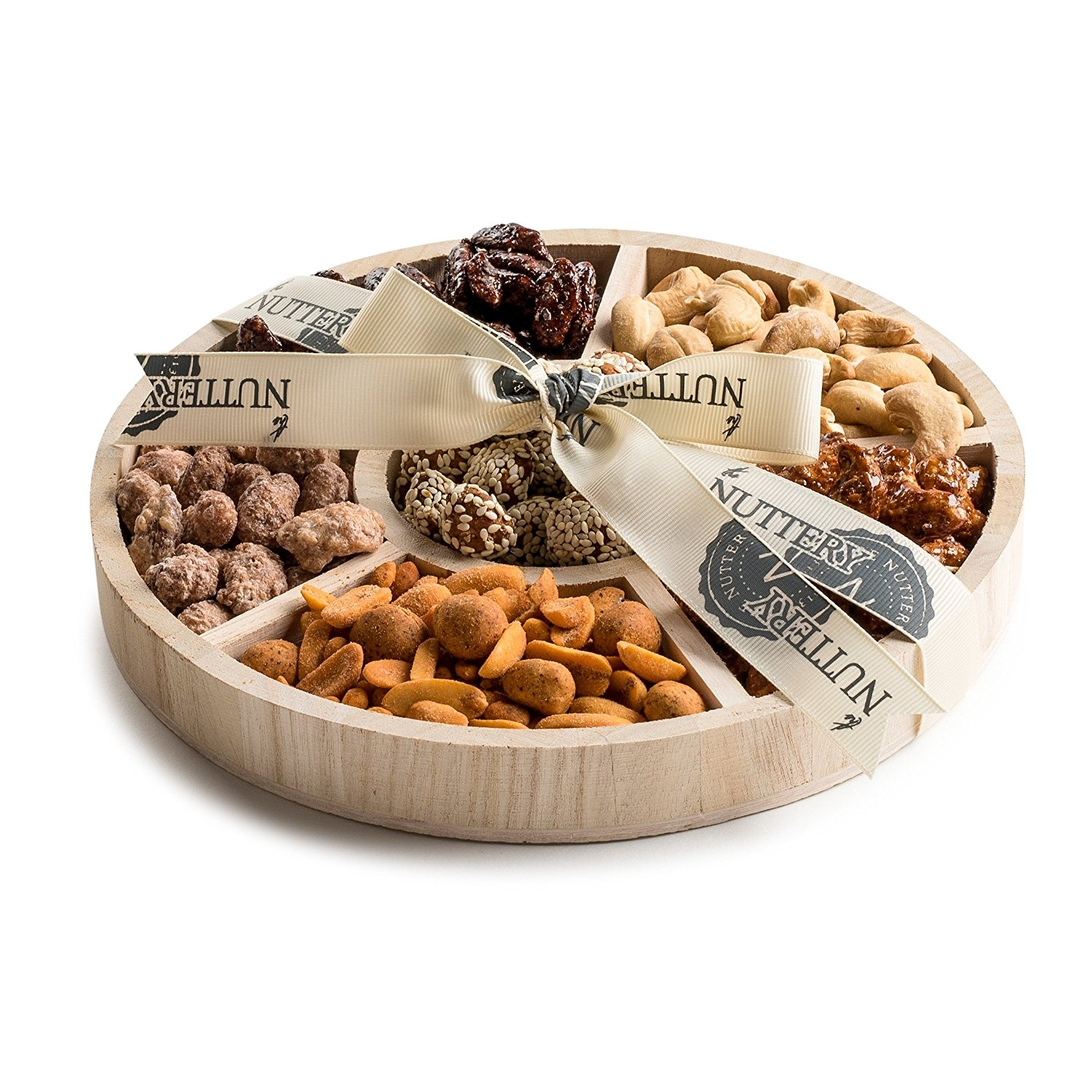The Nuttery Wooden 6 Section Gift Sharing Round Nut Serving Tray (Small 6 Sectional Tray)