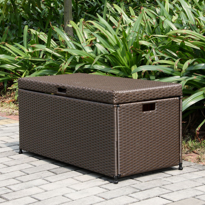 Outdoor Resin Wicker Storage Deck Box by Jeco by Jeco