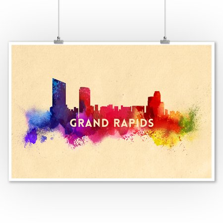 Grand Rapids, Michigan - Skyline Abstract - Lantern Press Artwork (9x12 Art Print, Wall Decor Travel Poster) ()