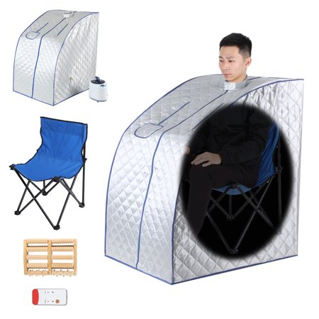 Body Therapy Spa - Portable 2L Steam Sauna Spa With Chair And Foot Massager Space Saver Home Tent Pot Machine Heater Indoor Therapeutic Therapy Spa Full Body Slimming Detox Weight Loss Slim Reduce Stress