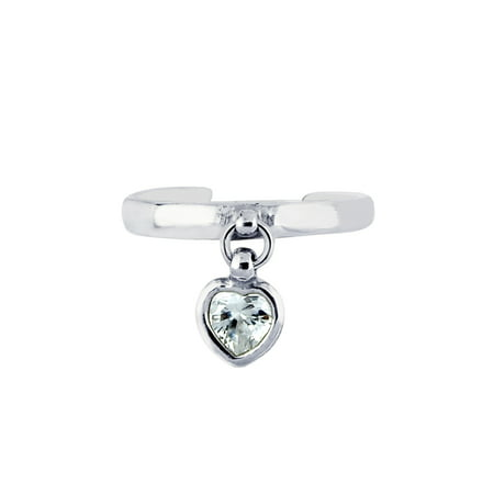 Sterling Silver Shiny Cubic Zirconia Dangle Heart Toe Ring