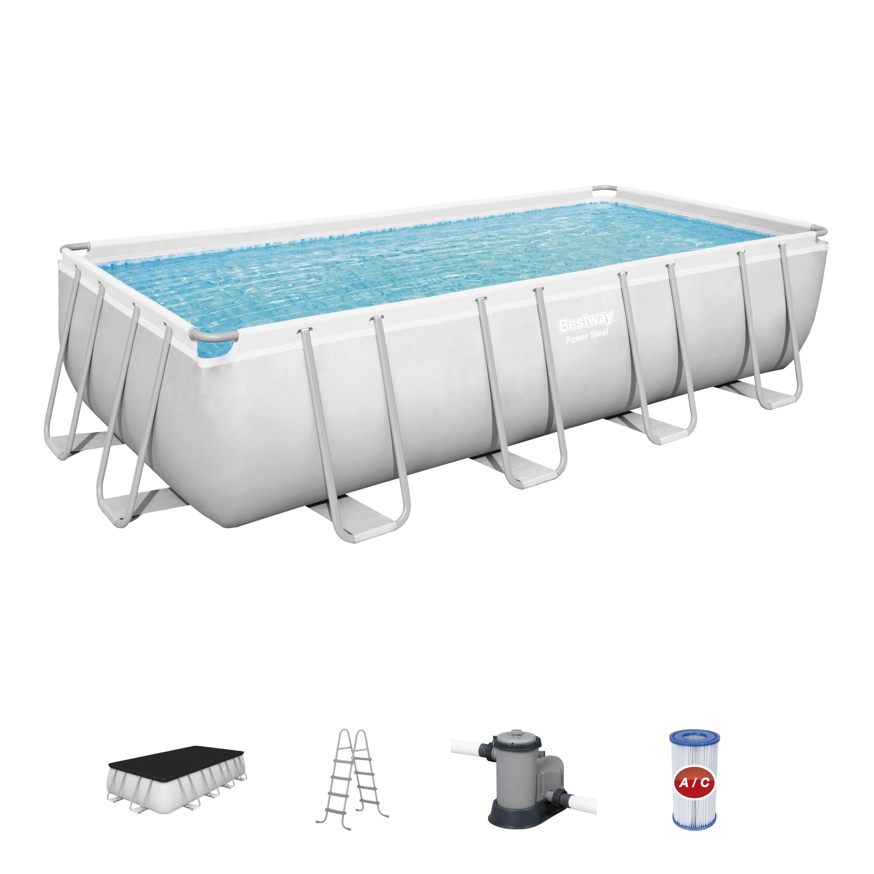 Bestway Power Steel 18′ x 9′ x 48″ Rectangular Metal Frame Swimming Pool Set with Pump, Ladder and Cover