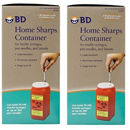 BD Home Sharps Container 1.4 qt/Each - 2 Pack, BD Home Sharps Container 1.4 Quart is a leak-proof and puncture-resistant container designed for the disposal of.., By BDBecton -