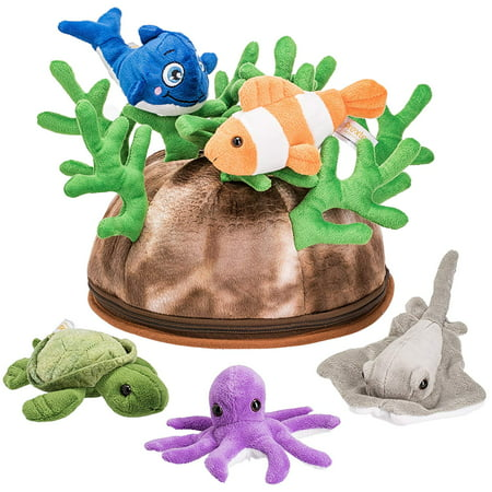 Prextex 5 Piece Set of Plush Soft Stuffed Sea Animals Playset with Plush Coral Reef House for Storage Includes Stuffed Octopus, Turtle, Stingray, Nemo Fish, and Blue Whale - Nemo Baby Stuff
