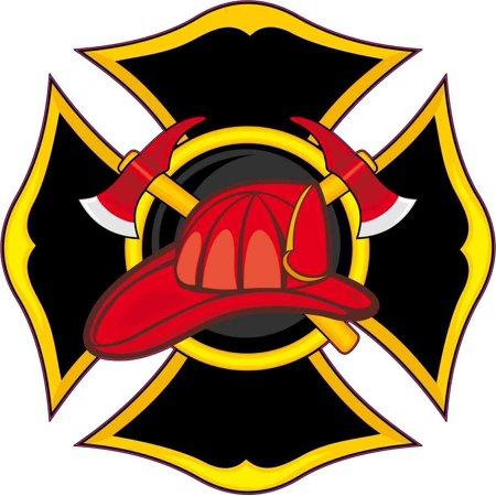 4in x 4in Fireman Emblem Sticker Vinyl Vehicle Decal Firefighter Stickers