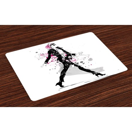 Fashion Placemats Set of 4 Glamorous Stylish Sexy Woman Model on Catwalk Runway in Vintage Clothes Design, Washable Fabric Place Mats for Dining Room Kitchen Table Decor,Black Pink, by Ambesonne