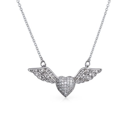 Pave Cubic Zirconia CZ Station Guardian Angel Wing Heart Pendant Necklace For Women 925 Sterling Silver