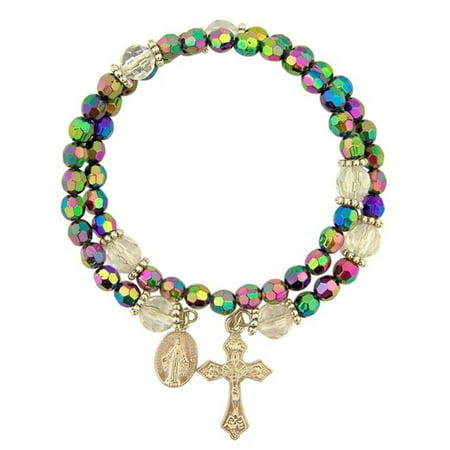 Acrylic Prayer Bead Rosary Wrap Bracelet with Miraculous Medal, 8 Inch ()