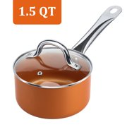 SHINEURI Copper 1.5 Quart Non-stick Copper Sauce Pan with Glass Lid, Stainless Steel Handle Covered Saucepan, Dishwasher Safe, Bronze