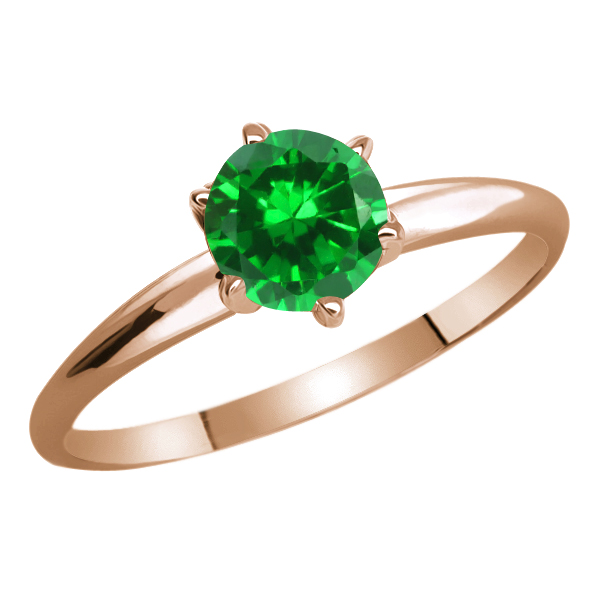 0.84 Ct Round Green Simulated Emerald 925 Rose Gold Plated Silver Ring