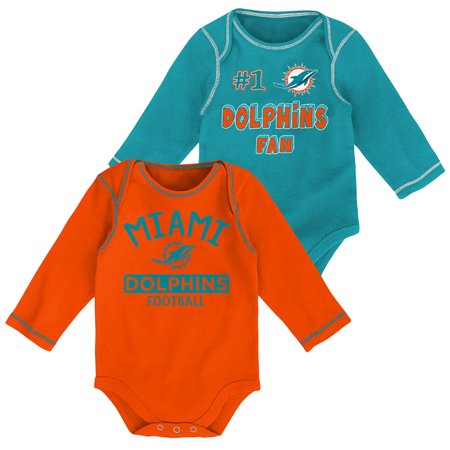 quality design 90a07 06500 Newborn & Infant Aqua/Orange Miami Dolphins 2-Pack Long Sleeve Bodysuits