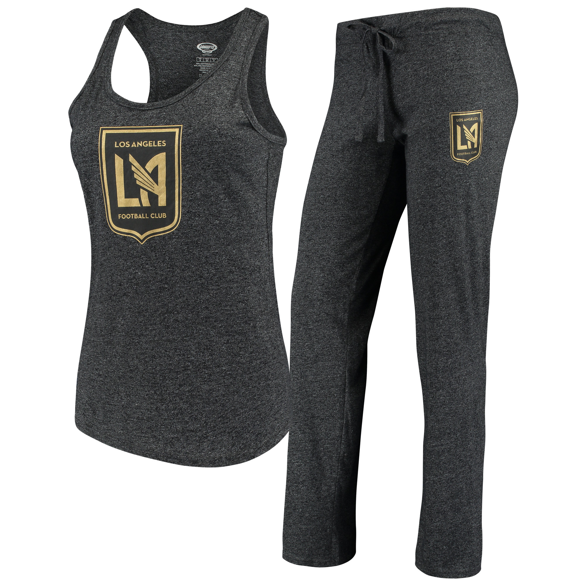 LAFC Concepts Sport Women's Spar Tank Top & Pants Sleep Set - Heathered Charcoal