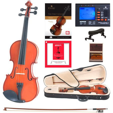 Cecilio Full Size 4/4 CVN-100 Solidwood Violin Package with D'Addario Prelude Strings, Lesson Book, Shoulder Rest ()