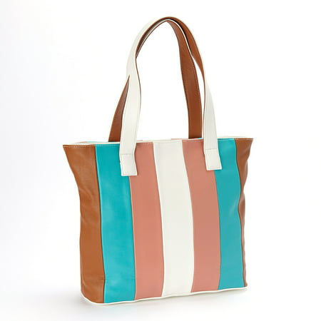 Amtal Women Multi Color Stripes Design Hobo Shoulder Top Handle Handbag (Tiffany Blue Bags)