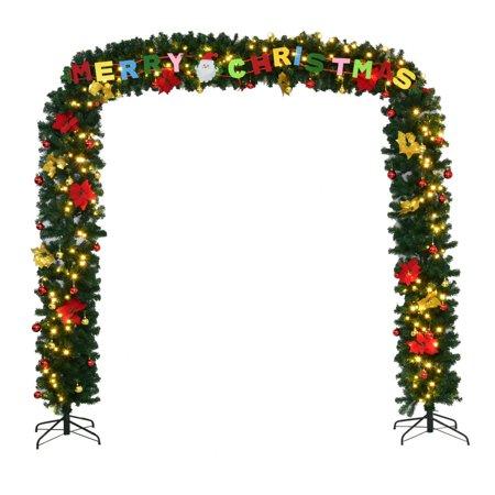 Goplus 9' x 8' Pre-Lit Artificial Arched Christmas Tree Archway Decoration w/LED - Christmas Archway Decoration