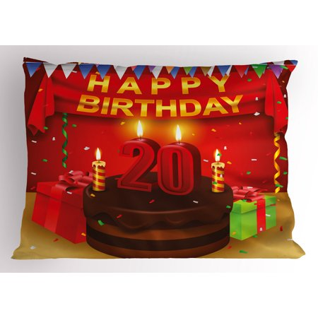 20th Birthday Pillow Sham Happy Birthday Party Curtains Boxes and Flags on the Red Colored Backdrop, Decorative Standard Size Printed Pillowcase, 26 X 20 Inches, Multicolor, by Ambesonne ()