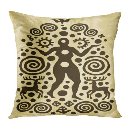ECCOT Aboriginal Ethnic Tribal Native Prehistoric Witch Woman Deer Spiral Age Aged Ancient Archeology Pillowcase Pillow Cover Cushion Case 16x16 (Ancient Deer)