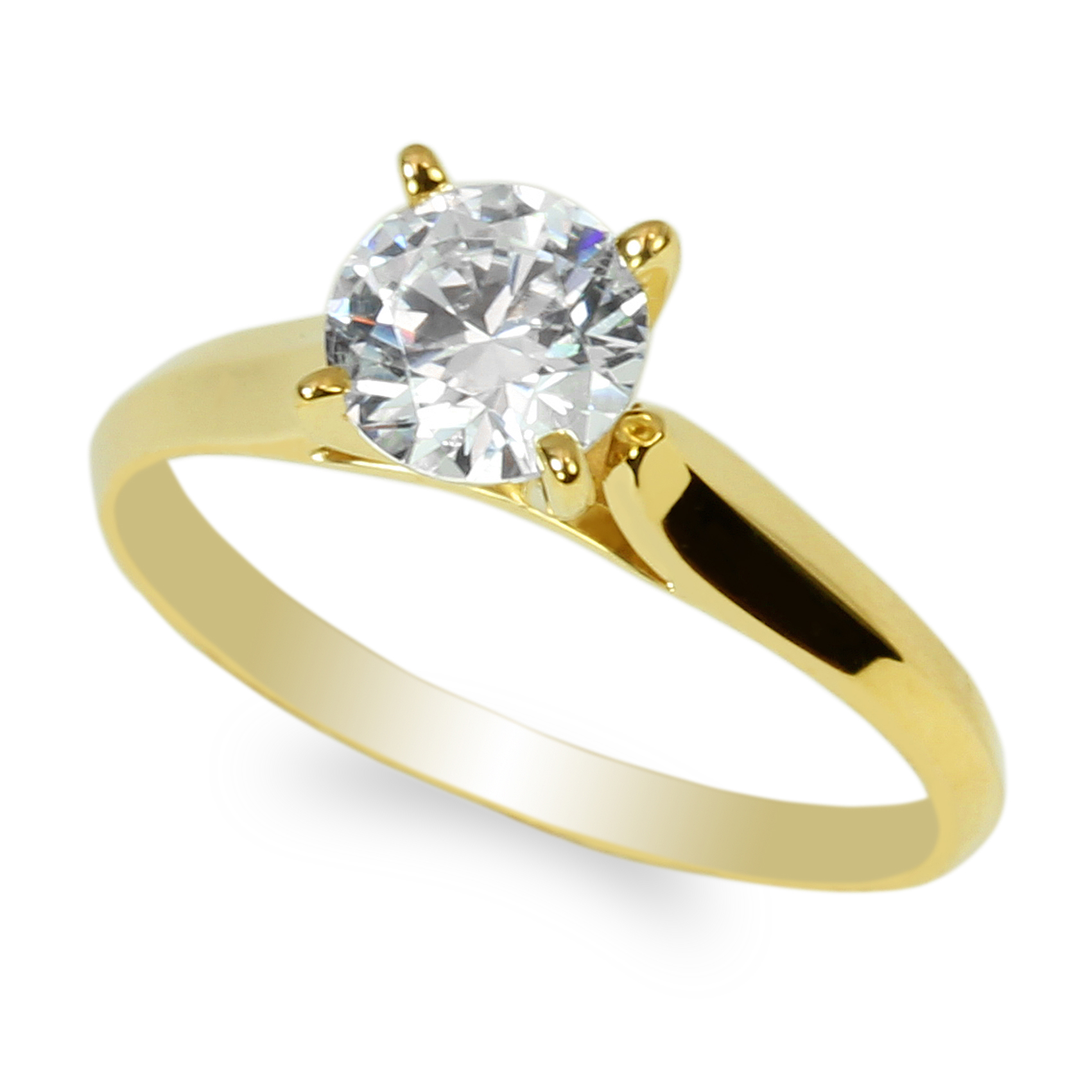 JamesJenny Womens 10K14K Yellow Gold Two Tone Lines Round CZ Solitaire Engagement Ring Size 4-9