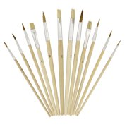"""US Art Supply 12 Piece Brush Set with 9"""" x 12"""" Wood Palette Painting Art"""