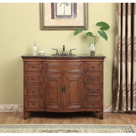 (Stufurhome 48 inch Yorktown Single Sink Vanity with Baltic Brown Granite Top)