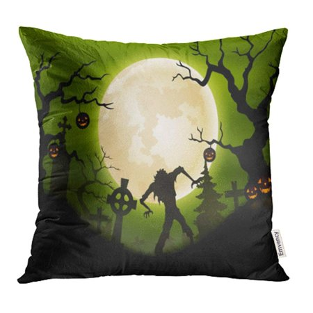 ARHOME Gravestone Halloween with Zombie in Graveyard Autumn Cartoon Celebration Dark Pillow Case Pillow Cover 18x18 inch Throw Pillow Covers - Funny Gravestone Quotes Halloween