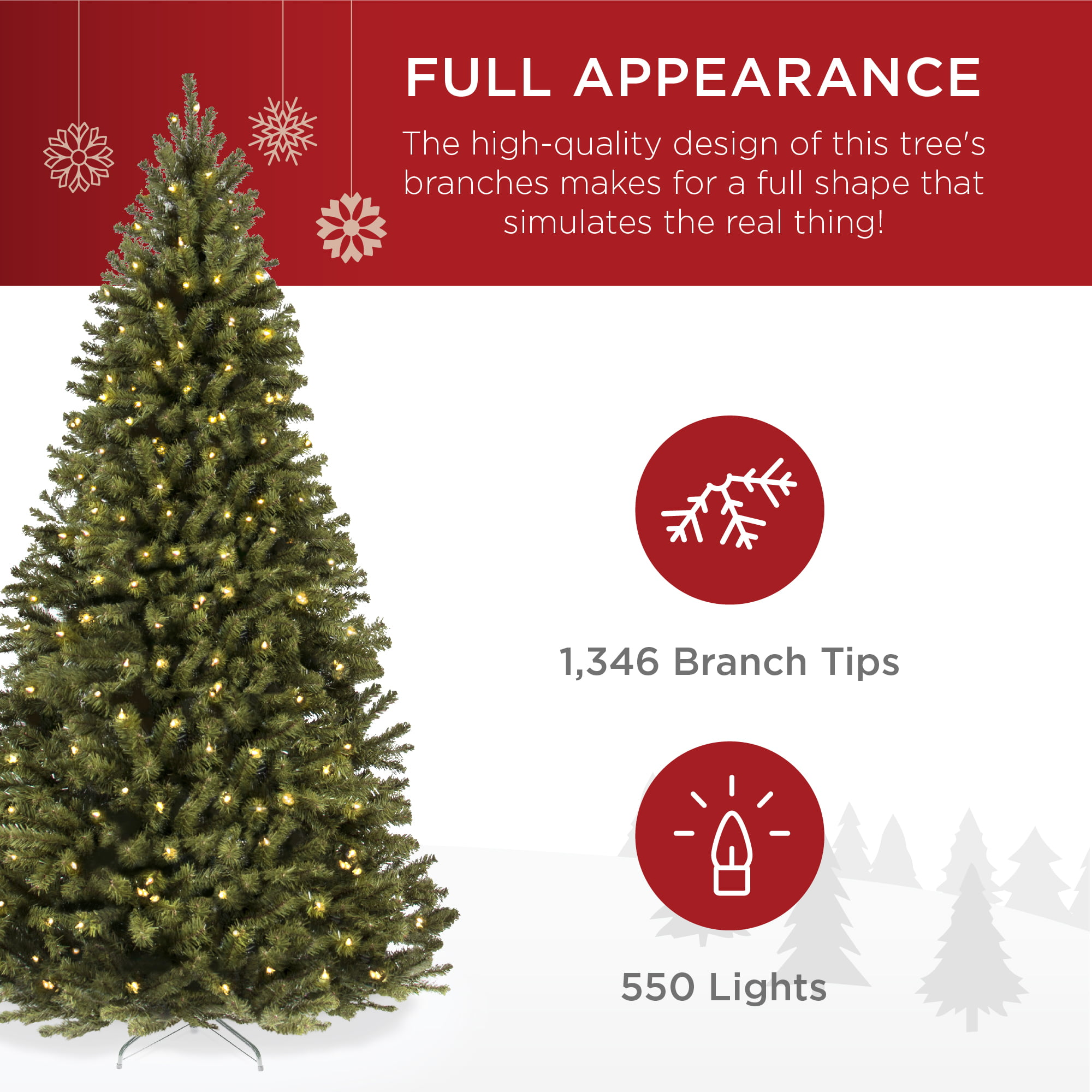 Best Choice Products 7 5ft Pre Lit Spruce Hinged Artificial Christmas Tree W 550 Incandescent Lights Foldable Stand Walmart Com Walmart Com