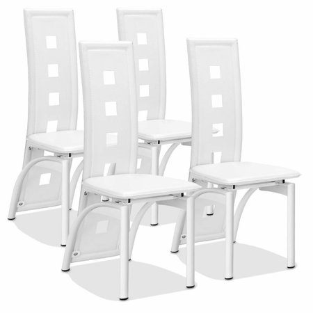 Set of 4 Dining Chairs PVC Leather Iron Frame High Back Home Furniture White New ()