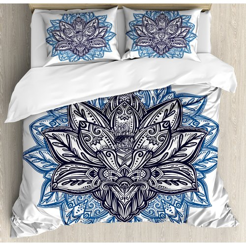 Ambesonne Indian Paisley Petals Themed Lotus Flower Ethni...