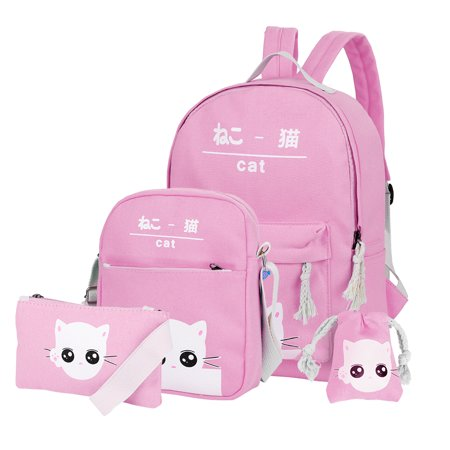Vbiger Canvas Kids Backpack Set 4pcs Casual Kitty School Bag for Teenage Girls( Pink