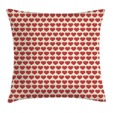Valentine Throw Pillow Cushion Cover, Vibrant Red Colored Heart Shapes Tile Pattern Romantic In Love Theme Design Print, Decorative Square Accent Pillow Case, 16 X 16 Inches, Red Cream, by Ambesonne