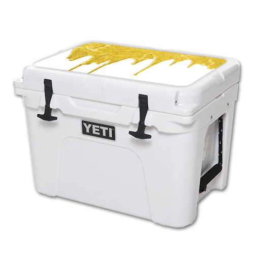 MightySkins Protective Vinyl Skin Decal for YETI Tundra 35 qt Cooler Lid wrap cover sticker skins Gold Drip