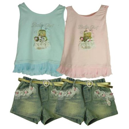 Bulk Buys Baby Girl 2 Piece Top  Short Outfit   Case Of 12