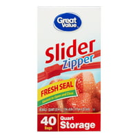 Great Value Slider Zipper Freezer Bags, Quart, 40 Count