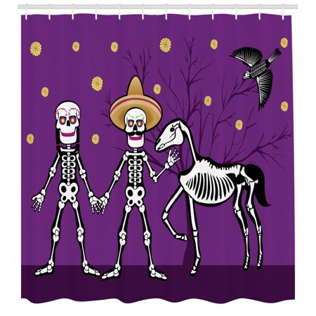 Day of the Dead Shower Curtain, Husband and Wife Skeletons Holding Hands Dead Horse and a Bird, Fabric Bathroom Set with Hooks, 69W X 70L Inches, Purple Yellow and Black, by Ambesonne ()