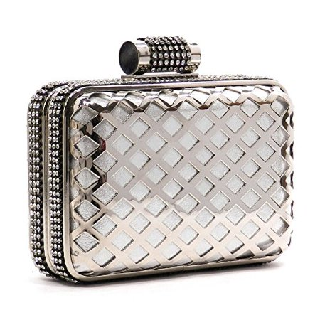 2Chique Boutique Women's Laser Cut Metal Frame Rhinestone Evening Bag