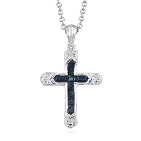 Blue Agate Round Pendant - Round Blue Diamond Cross Chain Pendant Necklace for Women 20