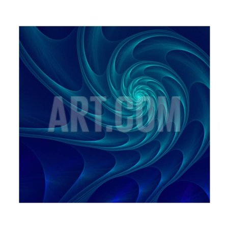 Abstract Fractal Blue and Turquoise Nautilus Shell. Golden Spiral. an Amazing Fibonacci Pattern in Print Wall Art By Anna Bliokh ()