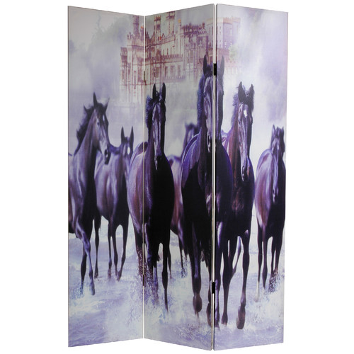Oriental Furniture 70.88'' x 47.25'' Horses 3 Panel Room Divider