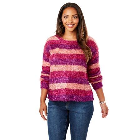 Multi Print Sweater - Roaman's Plus Size Metallic Eyelash Sweater