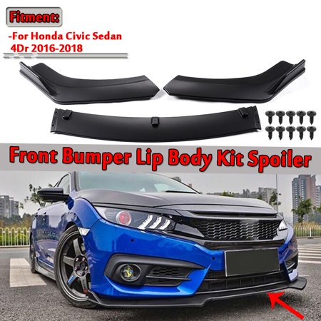 3pc Matte Black Front Bumper Lip Body Kit Spoiler For 4Dr Honda Civic 2016-2018  (Instruction Not Included) ()