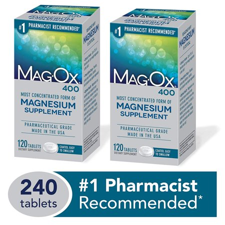 Magnesium Mineral Dietary Supplement Tablets, 483 mg Magnesium Oxide, 240 Count, Pharmaceutical Grade Mag-Ox 400 - 120 Count (Pack of (Pharmaceutical Grade Glucosamine)