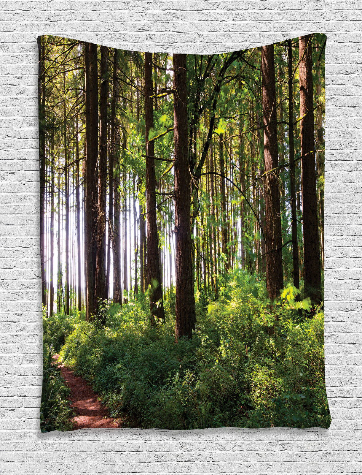 Farm House Decor Wall Hanging Tapestry, Pathway In A Shady Forest Of Bushes And Thick Trunks Grass Unique Wild Life... by Kozmos